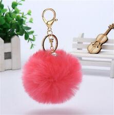 New Luxury Handbag Charm Key Ring Rabbit Fur Ball PomPom Cell Phone Car Keychain