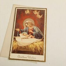 Vintage Greeting Card Christmas Baby Jesus Mary Angel Faces