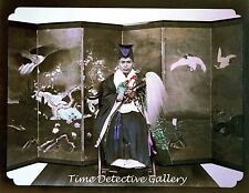 Japanese Man & Silk Dressing Screen, Japan - circa 1880s - Historic Photo Print