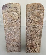 Antique Fine Chinese Carved Stone FOO DOGS Large Stamp Seal Statue Signed