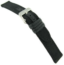 18mm Hadley Roma Stitched Kevlar Genuine Leather Black Watch Band Strap Mens 848