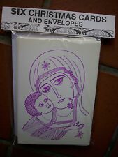PACK OF SIX RELIGOUS CHRISTMAS  CARDS & ENVELOPES - OUR LADY OF VLADIMIR IKON