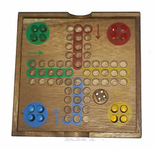 Wooden Ludo board game with pegs, solid wood, travel version Pachisi