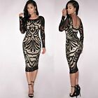 Women's Sexy Lace Long Sleeve Bodycon Evening Party Cocktail Mini Dress Clubwear