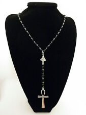 Silver Ankh Rosary Necklace Black Beads Key Of Life Vampire Cross Pendant Goth