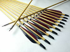 12PCS Traditional Wood Arrows Turkey Feather 11/32 Archery For Longbow Recurve