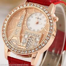 HOT Paris Studded Rhinestone Fashion Watch for Women - Red Ladies watch
