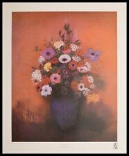 Odilon Redon Blaue Vase mit Blumen Poster Kunstdruck mit Alu Rahmen 60x48cm