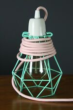 Small Diamond geometric wire lamp Cage pendant cloth cord peppermint pink