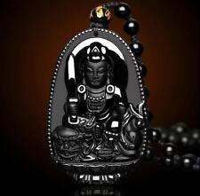 """Natural obsidian pendant """"Manjushri"""" Buddha amulet patron saint"""