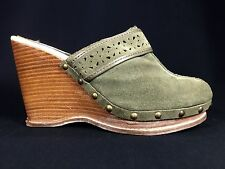 """STEVE MADDEN """"Charade"""" Green Suede Leather 4"""" Platform Wedge Mules Size 7.5 M"""