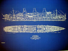 """UNITED STATES LINES Ship SS Leviathan 1914 Blueprint Plan Drawing 22""""x32"""" (053)"""