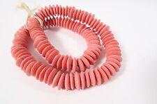Strang reciclado abalorios spacer 15mm Rose ghana Powder glass beads Krobo
