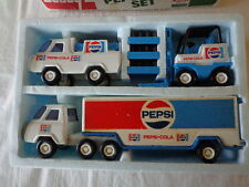 70'S VINTAGE BUDDY L PEPSI COLA DELIVERY TRUCKS AND  FORK LIFT 3 CASES