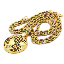 "Mens 14K Gold Plated Globe World Hip-Hop 4 mm/24"" Rope Chain With pendant"