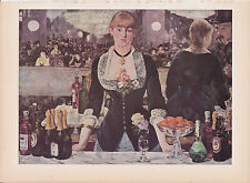 """1939 Vintage """"THE BAR AT THE FOLIES BERGERES"""" MANET Color Art Plate Lithograph"""