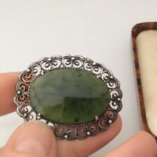 Vintage Jewellery Beautiful Silver And Real Jade Cabochon Brooch Pin