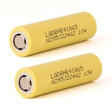 2 Of LG HE4 INR 18650 Battery 3.7V Rechargeable 2500mAh 35A Flat Top High Drain
