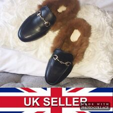 Princetown Womens Black Leather Chain Fur Lined Soled Loafer Slippers - UK 6