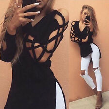 New Womens Cross Lace-up Long Sleeve Tops Blouse V Neck Hoodie Pullover T Shirt