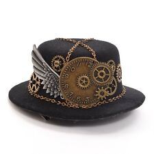 Vintage Women Steampunk Gear Wing Chain Mini Hat Hair Clip Punk Gothic Headwear