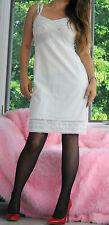VTG Charmode White Embroidered Eyelet Lace Classic Full Slip Dress sz 34