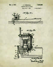 "Fishing Air Boat Motor  Patent Poster Art  Antique Reels Lures 11""x14"" PAT139"