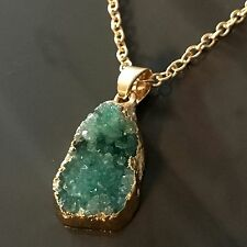 Necklace gold 14k plated chain drusy natural stone quartz crystal pendant green
