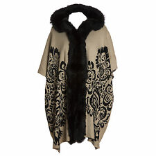 Plus Size Lana Wool Abstract Cream & Black Fur Trim Hooded Waistcoat/Wrap/Coat