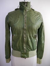 GIORGIO BRATO $1,400 green leather moto style jacket Italian size 44