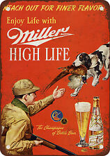 """1958 Miller Beer and Pheasant Hunting 10"""" x 7"""" Reproduction Metal Sign"""