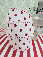 "10 yards Mini Red Hearts & Stitches Grosgrain Ribbon 1.5"" Wide/Craft/Supply R108"