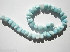 """Natural A+ Larimar tumbled nugget Beads - 5-6x7-8x5mm - 8"""" Str"""