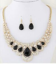 CHUNKY GOLD  BLACK  ENCRUSTED DIAMANTE CRYSTALTEAR DROP NECKLACE & EARRING SET