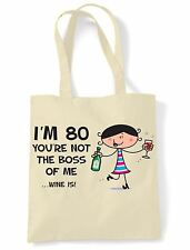You're Not The Boss Of Me Wine Is 80th Birthday Present Shoulder ToteBag - Gift