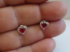 STUD EARRINGS 925 STERLING SILVER HEART SHAPE W/ 1.10 CT RUBY & ACCENTS