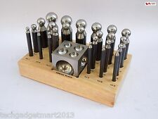25 pc Dapping Block Punch Set with wooden stand high carbon steel st415
