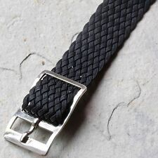 Black braided nylon 12mm vintage watch band 1960s tropical type silver buckle