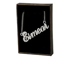 "Name Necklace ""EIMEAR"" - 18ct White Gold Plated - Swarovski Elements - Wedding"