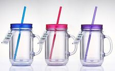 Cupture Double Wall Insulated Plastic Mason Jar Tumbler Mug - 16 oz, 3 Pack NEW