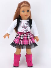 Pink Butterfly Dress & Boots Doll Clothes Made For 18 Inch  American Girl