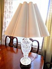 "ESTATE/VINTAGE TALL FROSTED TEXTURED DEEP-CUT CRYSTAL TABLE LAMP 31"" TALL"