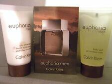 EUPHORIA CK 4 pc Men Set 2 Spray Sample Vials Body Wash AS Balm Travel
