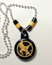 "**MOCKINGJAY** Hunger Games Necklace 1"" Button Pendant W/Chain ~~USA Seller"