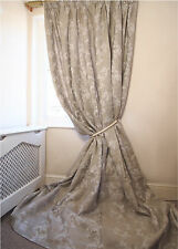 """New 2 Pairs AVAILABLE Linen Floral Lined INTERLINED Heavy 100"""" D 140"""" W CURTAINS"""