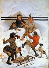 "J C LEYENDECKER BOOK PRINT ""SNOWBALL FIGHT"" BOYS BEHIND SNOW FORT V. BOYS & SLED"