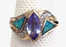 14k Yellow Gold Tanzanite, Opal and Diamond Ring
