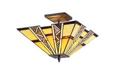 """Tiffany Style Stained Glass Mission 2 Light Semi Flush Ceiling Fixture 14"""" Shade"""