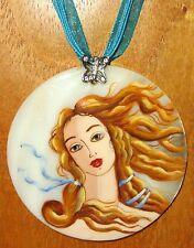 UNIQUE hand painted SHELL pendant Botticelli fragment Birth of Venus necklace