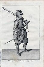 1801 ANTIQUE MILITARY PRINT A SOLDIER OF JAMES 1st WITH CALIVER